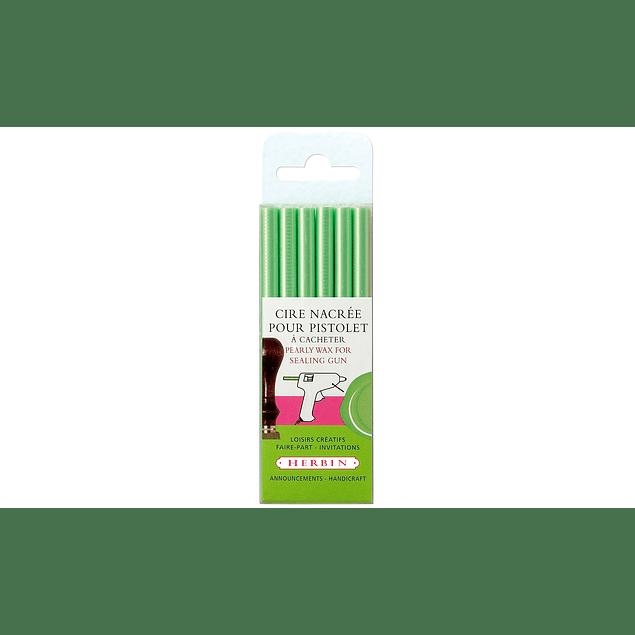 6 barras de lacre para pistola, verde perlado