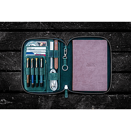 LEATHER ZIPPERED A5 NOTEBOOK FOLIO - CRAZY HORSE FOREST GREEN