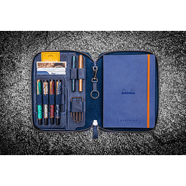 LEATHER ZIPPERED A5 NOTEBOOK FOLIO - CRAZY HORSE NAVY BLUE