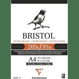 """Bloc encolado """"Bristol"""" Extra Blanco - (4 tamaños)"""