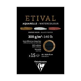 Bloc doble cara para acuarela - Papel Negro 300 g (8 tamaños)