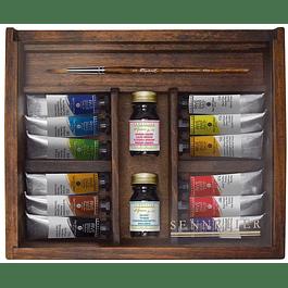 Sennelier Rive Gauche Wood Set: 12 Colors
