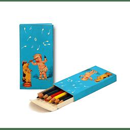 "Caja de lápices""Piggy"" - Paquete de 6 lápices de colores de 9cm."