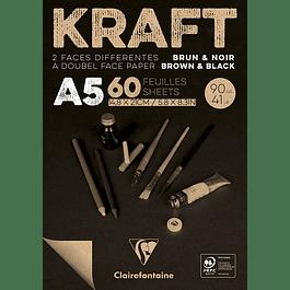 Bloc Doble Cara Papel Kraft y Negro 120 g - (3 tamaños)