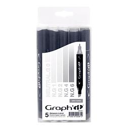 Set 5 marcadores Graph'iT - Colores Grises