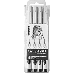 GRAPH'IT POUCH OF 4 BLACK FINE LINER - MANGA