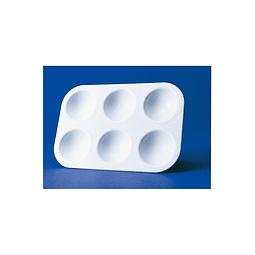 Paleta de plástico rectangular con 6 ranuras - 9 x 13,5 cm