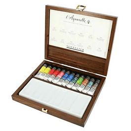 Sennelier l'Aquarelle Luxury Walnut Watercolour Set | 12 x 10ml Tubes