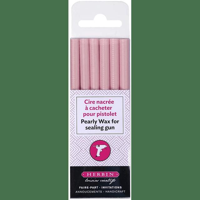 6 Barras de cera para pistola, rosado pálido perlado