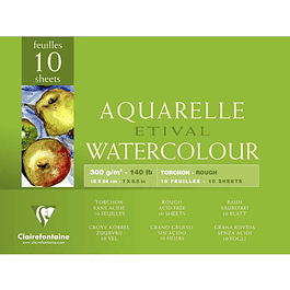 25 Pliegos Watercolor ETIVAL Rugoso 300g - (2 tamaños)