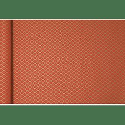 Rollo de papel de regalo Kraft - Flores Rojas 5 m x 0,35 m