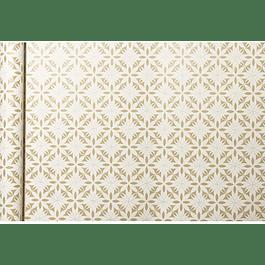 Rollo de papel de regalo Kraft - Flores Blancas 5 m x 0,35 m