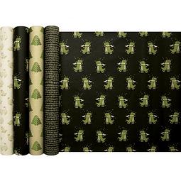 """Rollo de papel de regalo Kraft - """"Dino"""" 5 m x 0,35 m"""