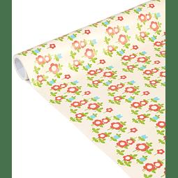 """Rollo de papel de regalo - """"Flores Rojas"""" 5 m x 0,35 m"""