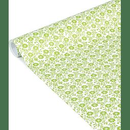 """Rollo de papel de regalo - """"Flores Verdes"""" 5 m x 0,35 m"""