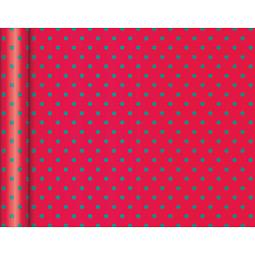 """Rollo de papel de regalo Kraft - """"Puntos Verdes"""" 5 m x 0,35 m"""