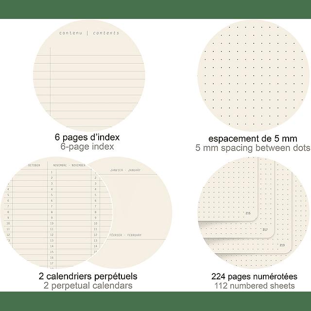 GoalBook Tapa Blanda Puntos Hojas Marfil - 14,8 x 21 cm - (Colores)