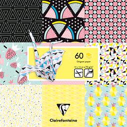 Pack Origami 60 hojas 15x15, Fruta Geométrica
