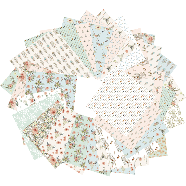 ORIGAMI pack 60 hojas 15x15 - Boheme chic