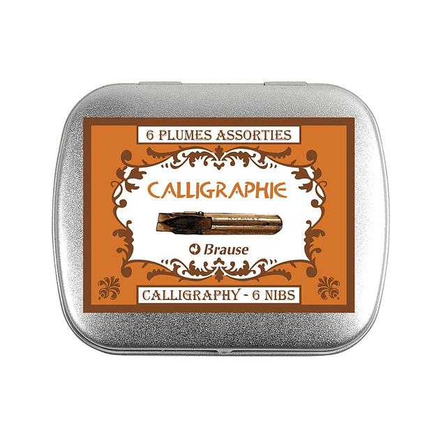 Caja con 6 plumas surtidas serie Caligrafía