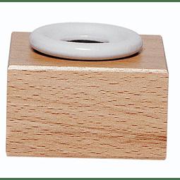 Pote de tinta de porcelana + cubo de madera