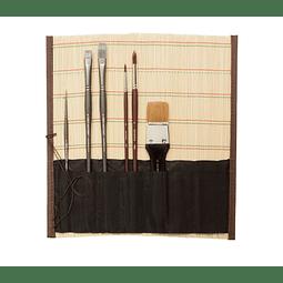 Portapinceles enrrollable de Bamboo