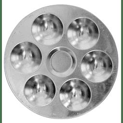 Bandeja Redonda De Aluminio De 6 pocillos