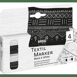 Set Textil Marker Opak Set Blanco y Negro