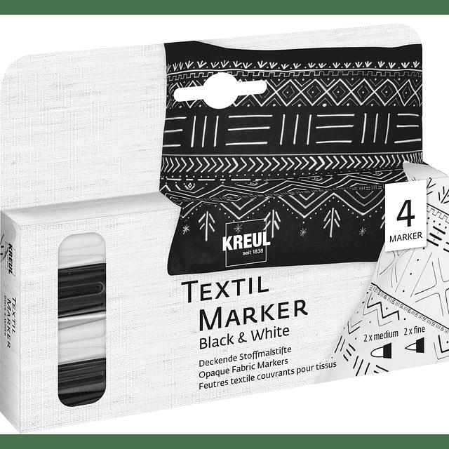 KREUL Textil Marker Opak 4er Set Blanco y Negro