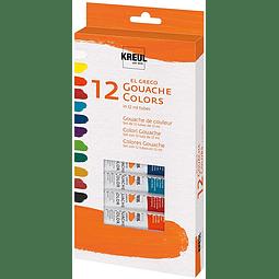 Set 12 Gouache Colors KREUL El Greco - 12 ml cada uno
