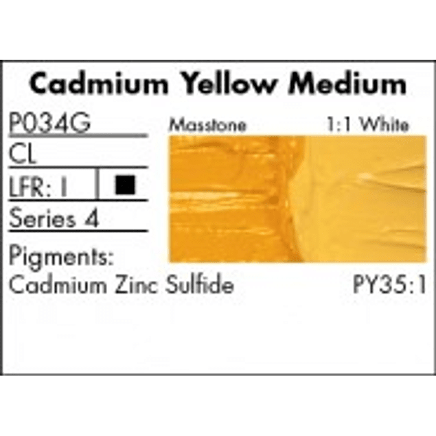 GRUMBACHER COLOR - PRETESTED OIL (37ML) CADMIUM YELLOW MEDIUM