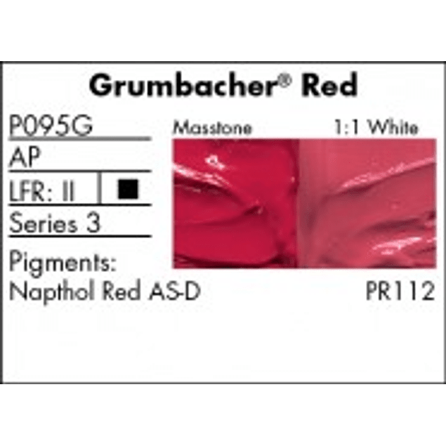 GRUMBACHER COLOR - PRETESTED OIL (37ML) GRUMBACHER RED (NAPTHOL)