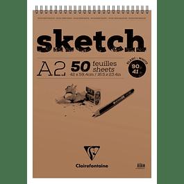 Sketch wirebound pad A2 50sh 90g White