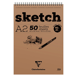 Sketch wirebound pad A2 50sh 90g White