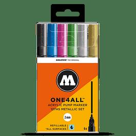 Acrylic marker One4All 127HS 2mm Wallet Metallic-Set 6 pcs.