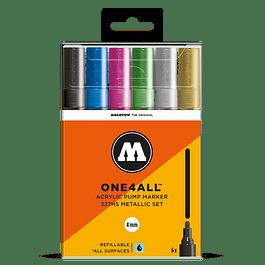Acrylic marker One4All 227HS 4mm Wallet Metallic-Set 6 pcs.
