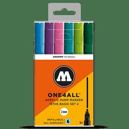 Acrylic marker One4All 127HS 2mm Wallet Basic-Set 1 6 pcs.