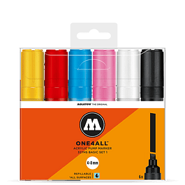 Acrylic marker One4All 327HS 4-8mm Wallet Basic-Set 6 pcs.