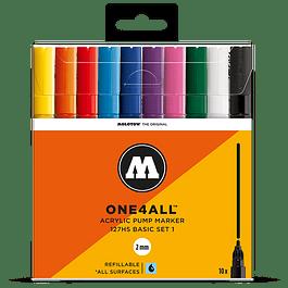 Acrylic marker One4All 127HS Wallet Basic-Set 1 10 pcs.
