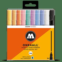 Acrylic marker One4All 127HS 2mm Wallet Pastel-Set 10 pcs. ( Venta sin empaque )