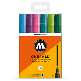 Acrylic marker One4All 227HS 4mm Wallet Basic-Set 2 6 pcs.
