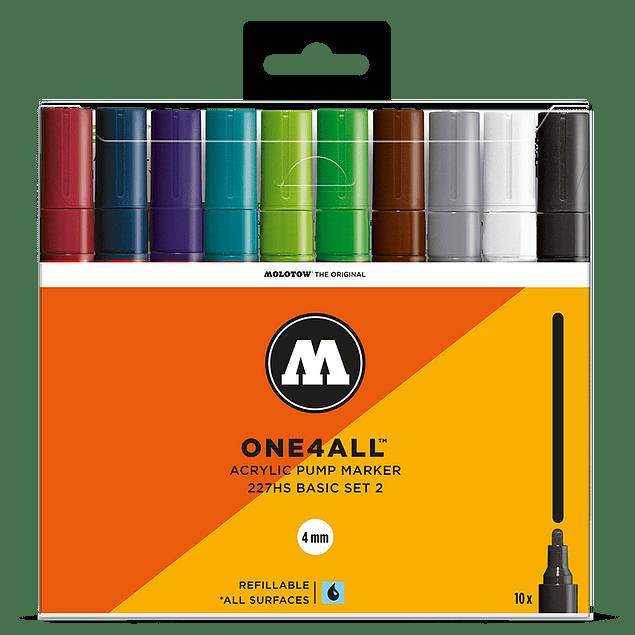 10 marcadores acrílicos One4All 227HS 4mm Colores Básicos- Set II