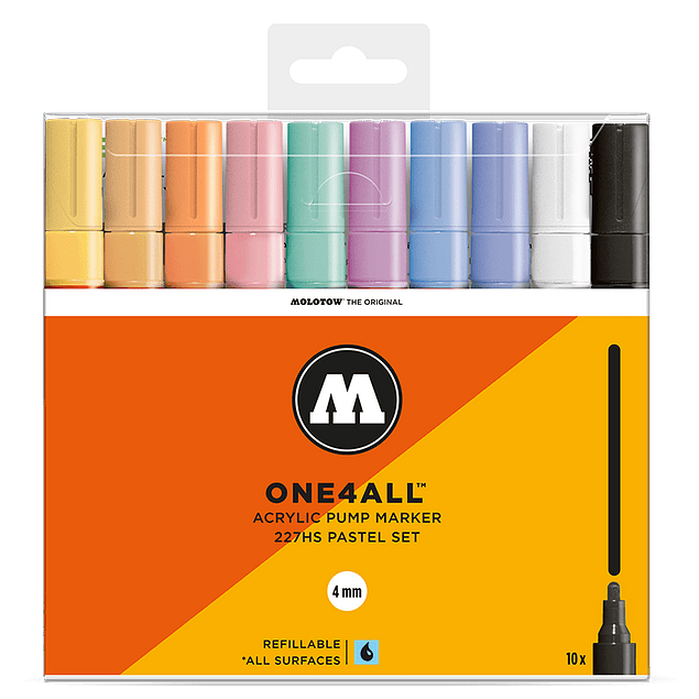 Acrylic marker One4All 227HS 4mm Wallet Pastel-Set 10 pcs.
