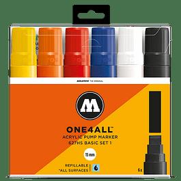 Acrylic marker One4All 627HS 15mm Wallet Basic-Set 1 6 pcs.