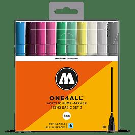Acrylic marker One4All 127HS 2mm Wallet Basic-Set 3 10 pcs.