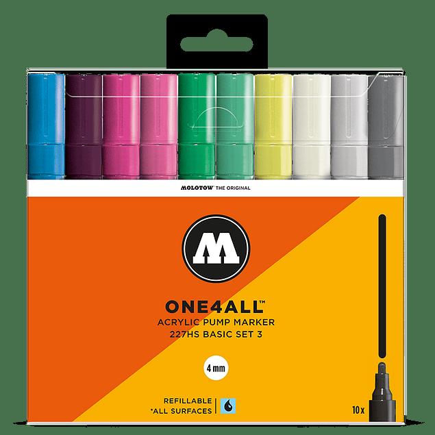 Acrylic marker One4All 227HS 4mm Wallet Basic-Set 3 10 pcs.