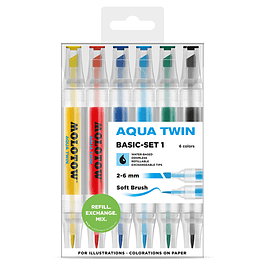 Twin marker Aqua 1mm/2-6mm Wallet Basic-Set 1 6 pcs.