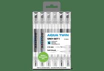 Set I de 6 Twin marker Aqua 1mm/2-6mm Color Gris.