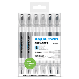 Twin marker Aqua Twin 1mm/2-6mm Wallet Basic-Set 1 6 pcs.