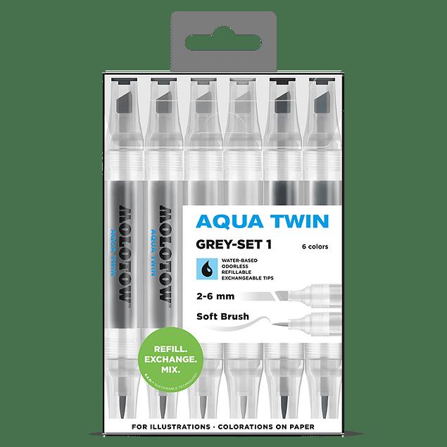Twin marker Aqua Twin 1mm/2-6mm Wallet Basic-Set 1 6 pcs.
